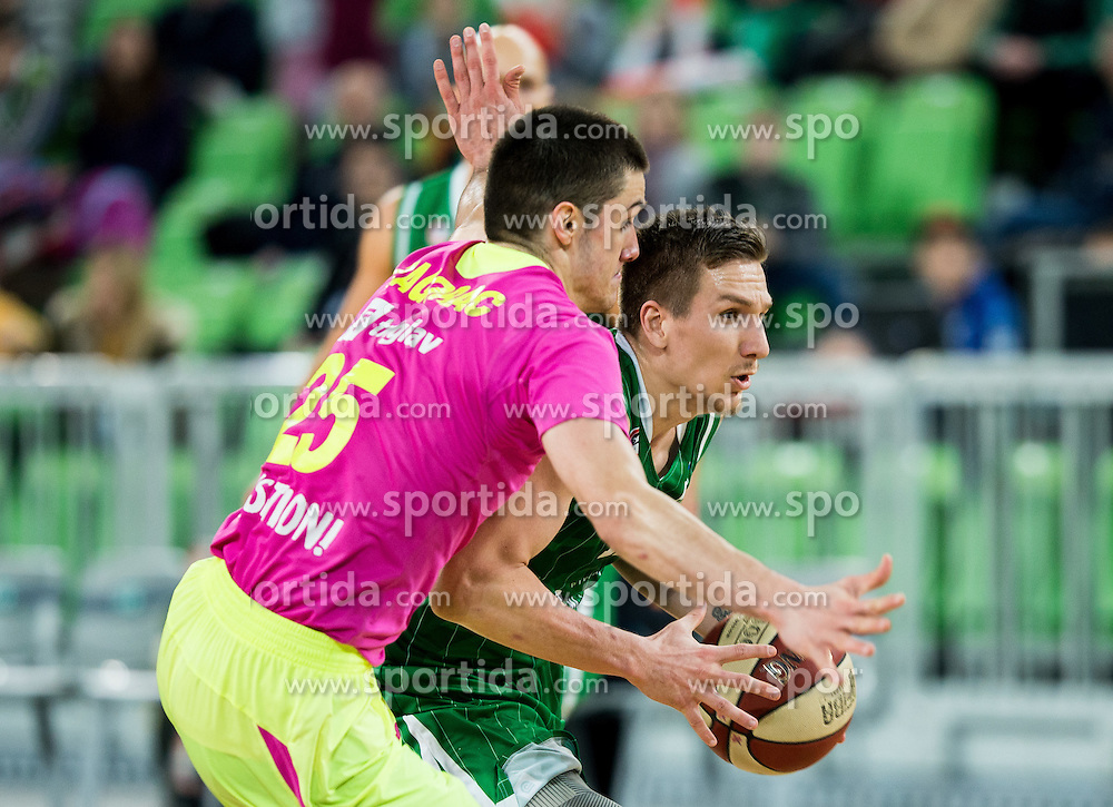 Rade Zagorac of Mega Leks vs Gregor Hrovat #15 of KK Union Olimpija during basketball match between KK Union Olimpija Ljubljana and KK mega Leks in 14th Round of ABA League 2016/17, on December 18, 2016 in Arena Stozice, Ljubljana, Slovenia. Photo by Vid Ponikvar / Sportida