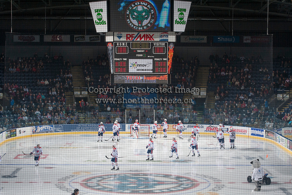 KELOWNA, CANADA - NOVEMBER 7: The Spokane Chiefs warm up against the Kelowna Rockets on November 7, 2014 at Prospera Place in Kelowna, British Columbia, Canada.  (Photo by Marissa Baecker/Shoot the Breeze)  *** Local Caption *** Spokane Chiefs;