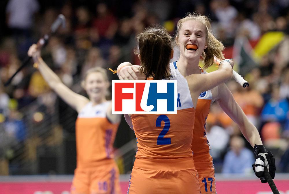 BERLIN - Indoor Hockey World Cup<br /> Quarterfinal 4: Netherlands - Czech Republic<br /> foto: Elin van Erk celebrates.<br /> WORLDSPORTPICS COPYRIGHT FRANK UIJLENBROEK