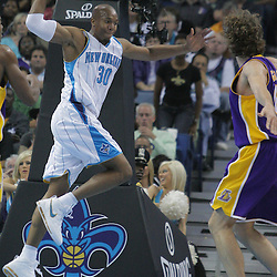 12 November 2008: New Orleans Hornets forward David West (30) attempts save a Hornets possession by throwing the ball at Los Angeles Lakers forward Pau Gasol (16) during a 93-86 win by the Los Angeles Lakers over the New Orleans Hornets at at the New Orleans Arena in New Orleans, LA..