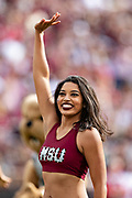 STARKVILLE, MS - NOVEMBER 17:  Pom Squad member of the Mississippi State Bulldogs performs during a game against the Arkansas Razorbacks at Davis Wade Stadium on November 17, 2018 in Starkville, Mississippi.  The Bulldogs defeated the Razorbacks 52-6.  (Photo by Wesley Hitt/Getty Images) *** Local Caption ***