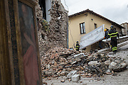Firemen and special Carabinieri team are removing art objects from the Church of Santa Maria della Pieta' in the medioeval village of Preci, the building is unstable after a 6.1 earthquake hit on October 30th 2016. Paint and statues wil be transported to a secret wearhouse where will be cleaned and, if necessary repaired.