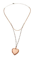 Rose gold heart locket necklace on white background