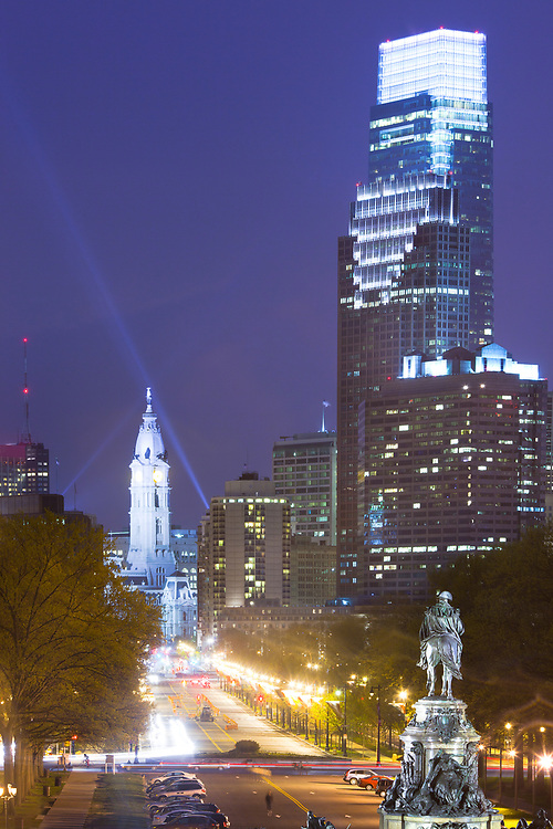Downtown skyline with City Hall, Philadelphia, Pennsylvania, USA