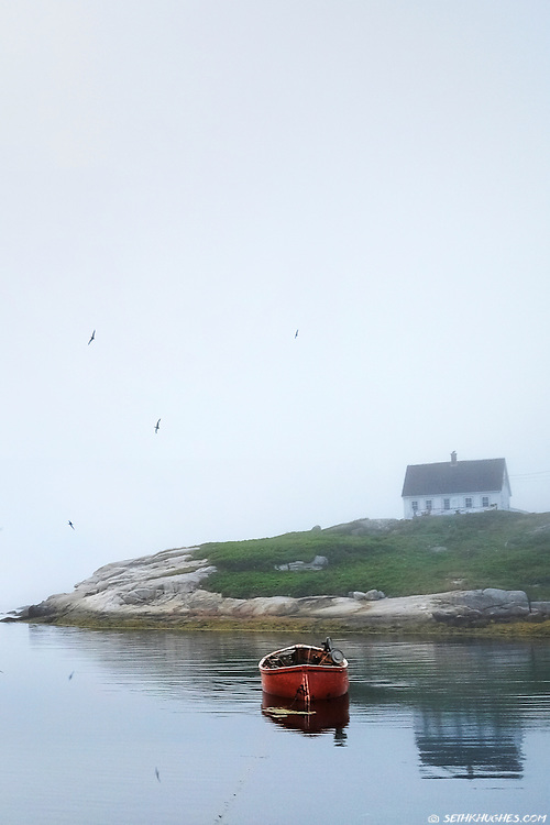 A rural fishing village known as Peggys Cove in the Canadian Maritimes of Nova Scotia.