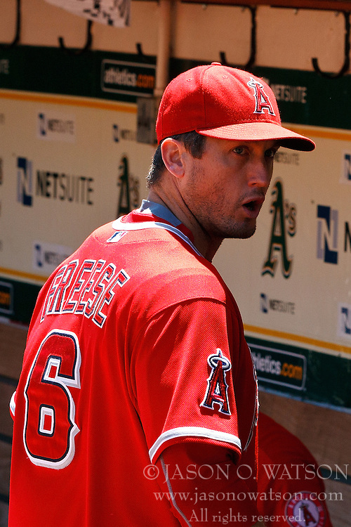 OAKLAND, CA - JUNE 21:  David Freese #6 of the Los Angeles Angels of Anaheim stands in the dugout before the game against the Oakland Athletics at O.co Coliseum on June 21, 2015 in Oakland, California. The Oakland Athletics defeated the Los Angeles Angels of Anaheim 3-2. (Photo by Jason O. Watson/Getty Images) *** Local Caption *** David Freese