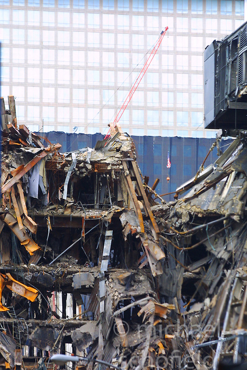 Pics of the debris and destruction of the area around the World Trade Center, after the terrorists attack on September 11, 2001..Images of the city of New York, United States of America, taken between 20th-22nd November, 2001..©Michael Schofield.