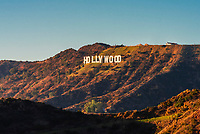 The Hollywood sign on Mount Lee in the Santa Monica Mountains above Los Angeles, California USA. The letters are 45 feet tall and 350 feet long.