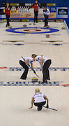 "Glasgow. SCOTLAND.  Scotland's, Anna SLOAN,  watch's her ""Stone"", as team mates left, Vicki ADAMS and right, Lauren GRAY, sweep, during a ""Round Robin"" Game. Le Gruyère European Curling Championships. 2016 Venue, Braehead  Scotland<br /> Tuesday  22/11/2016<br /> <br /> [Mandatory Credit; Peter Spurrier/Intersport-images]"