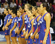The Northern Mystics stand together for the Last Post prior to the start of round 4 of the ANZ Netball Championship - Queensland Firebirds v Northern Mystics. Played at Brisbane Convention Centre. Firebirds (46) defeated the Mystics (40).  Photo: Warren Keir (SMP/Photosport).<br /> <br /> Use information: This image is intended for Editorial use only (e.g. news or commentary, print or electronic). Any commercial or promotional use requires additional clearance.