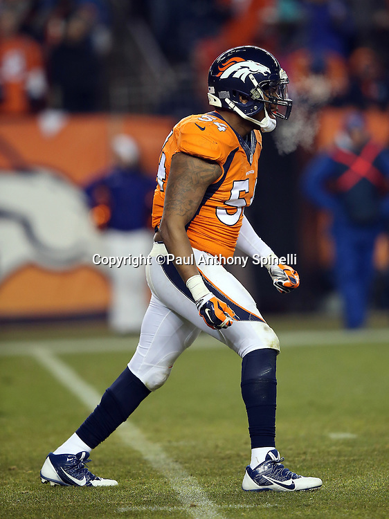 Denver Broncos inside linebacker Brandon Marshall (54) chases the action during the 2015 NFL week 16 regular season football game against the Cincinnati Bengals on Monday, Dec. 28, 2015 in Denver. The Broncos won the game in overtime 20-17. (©Paul Anthony Spinelli)