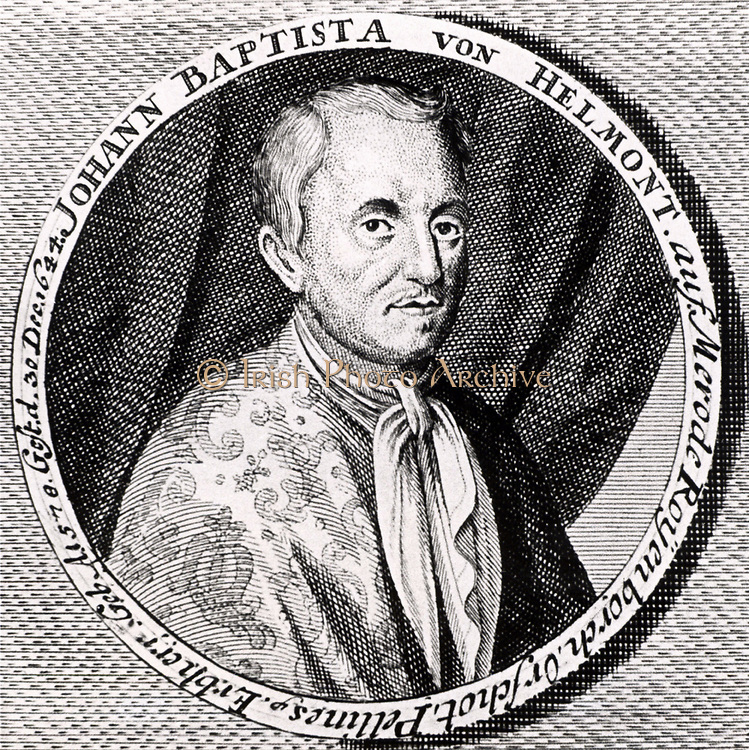 Jean Baptiste von Helmont  (1577-1644), Flemish chemist, physiologist, and physician and iatrochemist, born in Brussells. Engraving from From 'Icones Virorum' by Friedrich Roth-Scholtz (Nuremberg, 1725). Science