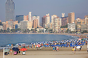 The Beach at Benidorm, on the Costa Blanca, Spain.