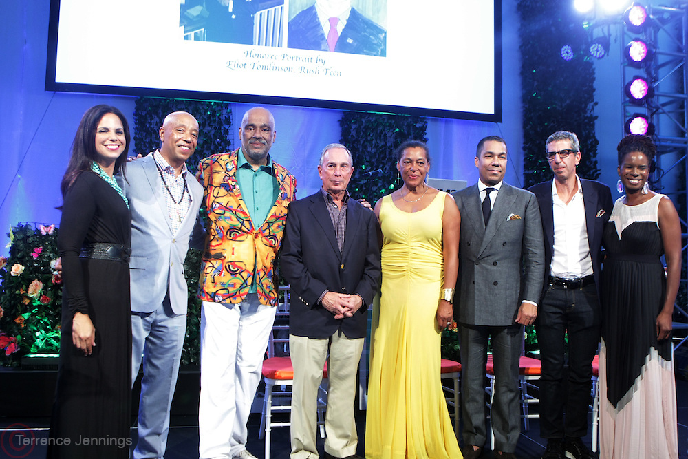 Water Mill, New York: (L-R) Television Personality Soledad O'Brien, Music Mogul Russell Simmons, Visual Artist Danny Simmons, Former New York City Mayor Michael Bloomberg (honoree), Carrie Mae Weems, (honoree) Valentino Carlotti (honoree), Jason Flom(honoree) and Tangie Murray, Executive Director, RUSH Philanthropic Arts Foundation attend the RUSH Philanthropic Arts Foundation 15th Annual Art For Life Benefit Gala held in the Hamptons at the Farmview Farms on July 26, 2014  in Water Mill, New York. (Terrence Jennings)