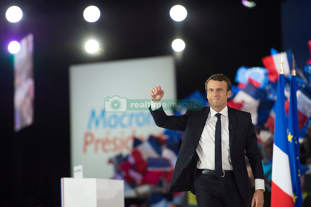 Presidential Candidate Emmanuel Macron arrives on stage during a political meeting at Paris Event Center on May 1, 2017 in Paris, France. Emmanuel Macron faces President of the National Front, Marine Le Pen in the final round of the French presidential elections on May 07. Photo by Eliot Blondet/ABACAPRESS.COM