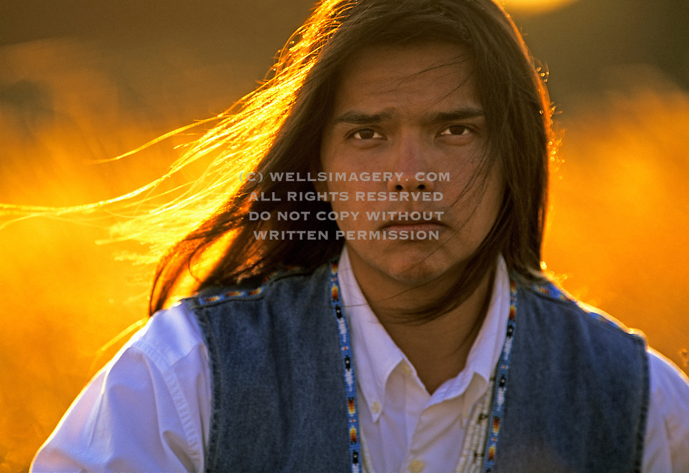 Image of a Native American from the Blackfeet Indian Reservation in Montana, Pacific Northwest, model released  Restrictions: Cannot be used for tobacco or alcohol use
