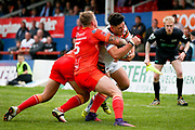 Bradford Bulls second row James Bentley (20) is stopped short during the Kingstone Press Championship match between Sheffield Eagles and Bradford Bulls at, The Beaumont Legal Stadium, Wakefield, United Kingdom on 3 September 2017. Photo by Simon Davies.