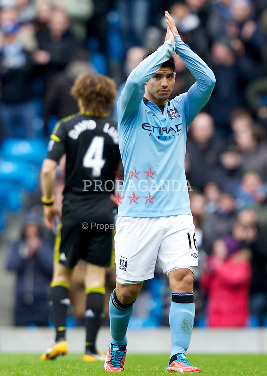 MANCHESTER, ENGLAND - Sunday, February 24, 2013: Manchester City's Sergio Aguero is being substituted during the Premiership match against Chelsea at the City of Manchester Stadium. (Pic by Vegard Grott/Propaganda)