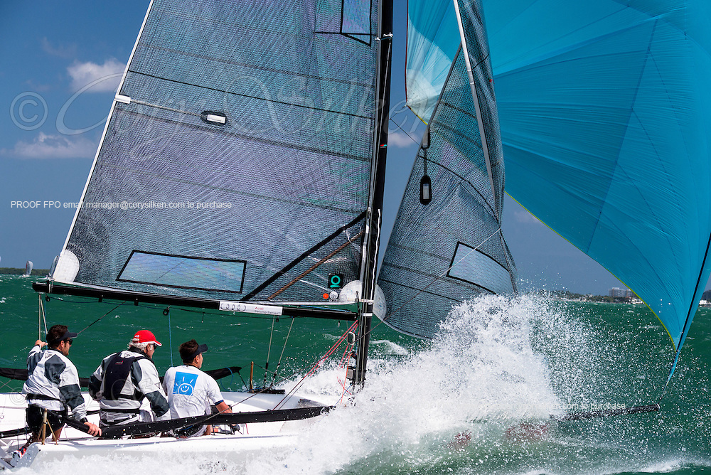 Asante Sana Sailing Team, Melges 20 Class, sailing in Bacardi Miami Sailing Week, day five.