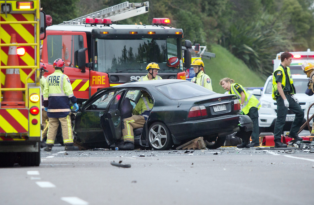 Emergency crews are attending a two car head on crash on SH29 at Maungatapu,Tauranga, New Zealand, Monday, January 11, 2016. Credit:SNPA / Cameron Avery