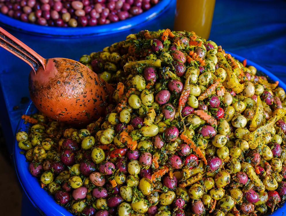 CASABLANCA, MOROCCO - CIRCA APRIL 2018: Store at The Great Habous Olive Market in Casablanca.