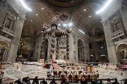 Vatican City dec 12th 2015, holy mass in St Peter's Basilica for festivity of Our Lady of Guadalupe. In the picture pope Francis during the celebration