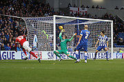 Charlton's Ademola Lookman scores his teams first goal against Brighton during the Sky Bet Championship match between Brighton and Hove Albion and Charlton Athletic at the American Express Community Stadium, Brighton and Hove, England on 5 December 2015. Photo by Geoff Penn.
