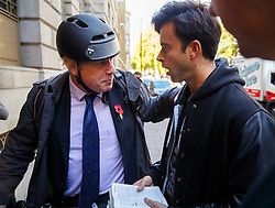 © Licensed to London News Pictures. 28/10/2014. LONDON, UK. Jolyon Rubinstein (R) of 'The Revolution Will Be Televised' talking to Mayor of London, Boris Johnson he arrives at The Lansdowne Club in central London to deliver a speech on Crossrail 2 on Tuesday, 28 October 2014. Photo credit : Tolga Akmen/LNP© Licensed to London News Pictures. 28/10/2014. LONDON, UK. Mayor of London, Boris Johnson delivering a speech on Crossrail 2 during City Age conference at The Lansdowne Club in central London on Tuesday, 28 October 2014. Photo credit : Tolga Akmen/LNP
