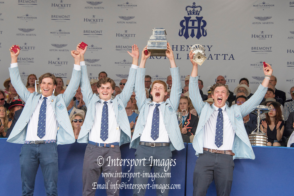 Henley on Thames, England, United Kingdom, 7th July 2019, Henley Royal Regatta, Prize Giving, The Wyfold Challenge Cup, Sydney Rowing Club, Australia, [© Peter SPURRIER/Intersport Image]<br /> <br /> 17:47:03 1919 - 2019, Royal Henley Peace Regatta Centenary,