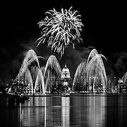Fireworks over the skyline of downtown Madison, Wis. (Photo © Andy Manis)