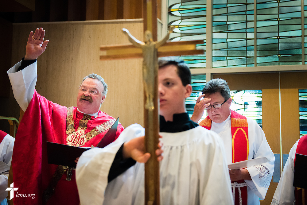 The Rev. Dr. Matthew C. Harrison (left), president of The Lutheran Church–Missouri Synod, presides over the Divine Service and Installation of Officers in the Chapel of Christ Triumphant following the close of the 54th Convention of the South Wisconsin District on Tuesday, June 9, 2015, at Concordia University Wisconsin in Mequon, Wis. LCMS Communications/Erik M. Lunsford