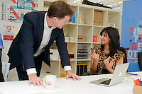 Arfah Farooq, cofounder of Discoverables with Deputy Prime Minister Nick Clegg officially launched Wayra UnLtd the new Academy in London that supports social enterprise businesses  <br /> <br /> DESCRIPTION WRITER:<br /> <br /> Sasha Mattus on 07515 754 550<br /> <br /> Picture date: 14th October 2013.<br /> <br /> Photo credit should read: Casey Gutteridge<br /> <br /> For more info call Sasha Mattus on 07515 754 550
