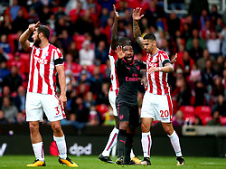(Caption Correction) Alexandre Lacazette of Arsenal cuts a frustrated figure after seeing a goal disallowed - Mandatory by-line: Robbie Stephenson/JMP - 19/08/2017 - FOOTBALL - Bet365 Stadium - Stoke-on-Trent, England - Stoke City v Arsenal - Premier League