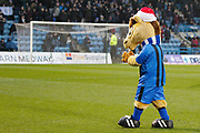 Gillingham mascot Tommy Trueblue looking festive with his Santa hat applauds the fans before the EFL Sky Bet League 1 match between Gillingham and Wycombe Wanderers at the MEMS Priestfield Stadium, Gillingham, England on 15 December 2018.