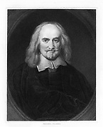 Thomas Hobbes (1588-1679) English political philospher, born at Malmesbury, Wiltshire. Argued for absolute rule. Engraving.