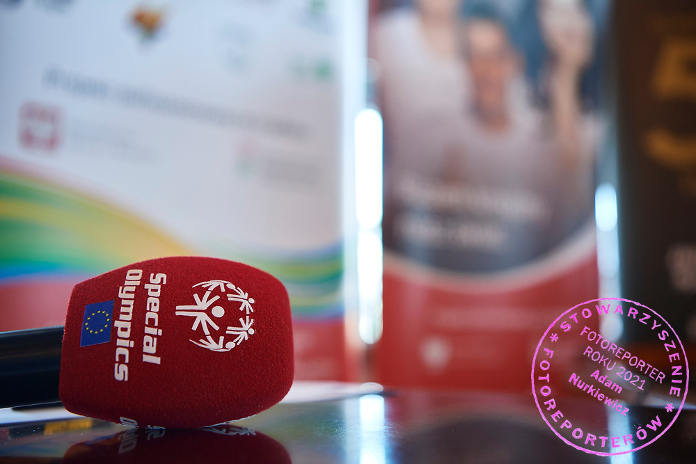 Warsaw, Poland - 2018 May 10: Media while Special Olympics Press Conference at Marriott Champions Sport Bar on May 10, 2018 in Warsaw, Poland.<br /> <br /> Adam Nurkiewicz declares that he has no rights to the image of people at the photographs of his authorship.<br /> <br /> Picture also available in RAW (NEF) or TIFF format on special request.<br /> <br /> Any editorial, commercial or promotional use requires written permission from the author of image.<br /> <br /> Image can be used in the press when the method of use and the signature does not hurt people on the picture.<br /> <br /> Mandatory credit:<br /> Photo by &copy; Adam Nurkiewicz / Mediasport
