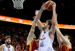 Pau Gasol of Spain between Pero Antic of Macedonia and Vlado Ilievski of Macedonia during basketball game between National basketball teams of Spain and F.Y.R. of Macedonia in Semifinals  of FIBA Europe Eurobasket Lithuania 2011, on September 16, 2011, in Arena Zalgirio, Kaunas, Lithuania. Spain defeated Macedonia 92-80.  (Photo by Vid Ponikvar / Sportida)