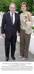 LORD & LADY PALUMBO at a party in London on 4th July 2001.OPY 253