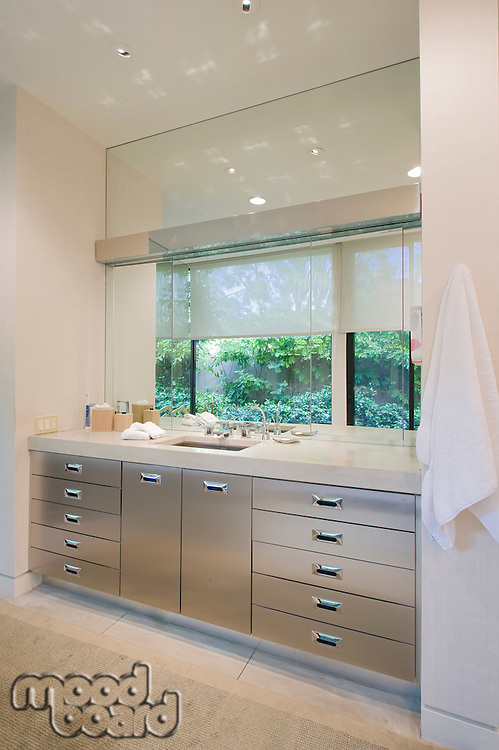 Modern bathroom sink and counter