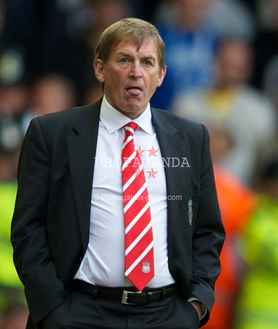 LIVERPOOL, ENGLAND - Sunday, May 15, 2011: Liverpool's manager Kenny Dalglish MBE and Tottenham Hotspur during the Premiership match at Anfield. (Photo by David Rawcliffe/Propaganda)