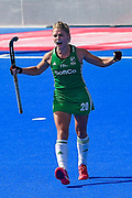 Chloe Watkins of Ireland (20) celebrates scoring in the shoot out  during the Vitality Hockey Women's World Cup 2018 Semi-Final match between Ireland and Spain at the Lee Valley Hockey and Tennis Centre, QE Olympic Park, United Kingdom on 4 August 2018. Picture by Martin Cole.