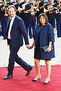 Jean Marc Germain and Anne Hidalgo, Major of Paris attend a Gala Dinner at the Elysee Palace on June 2nd, 2015 in Paris