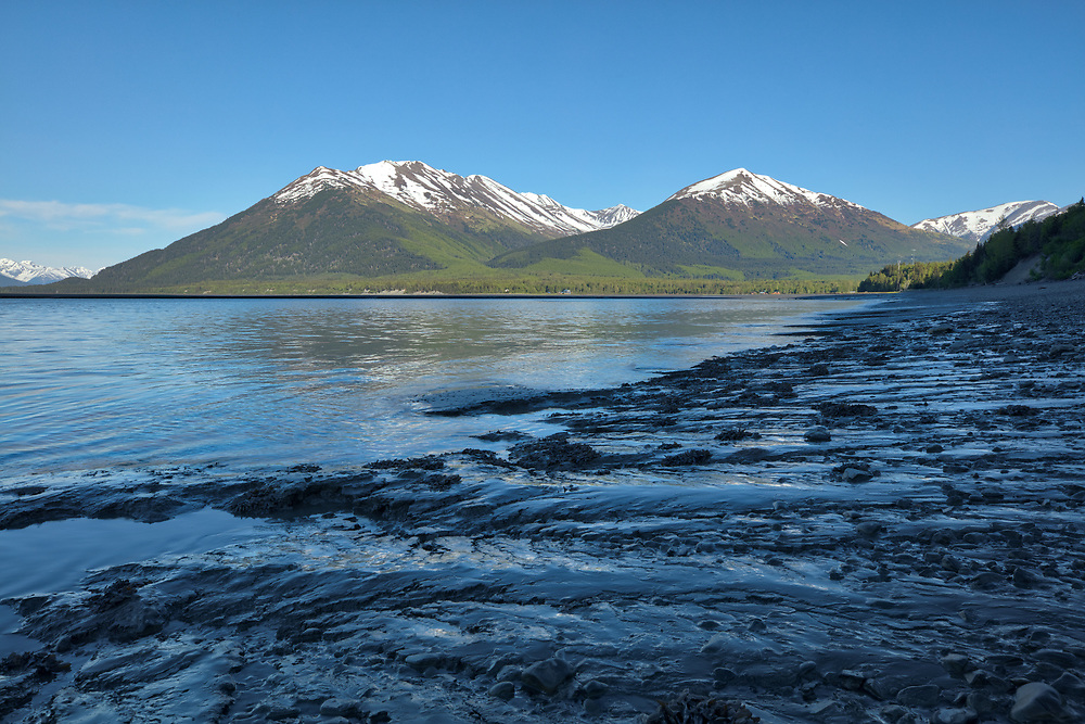 Tidal flats of Turnagain Arm near Hope in Southcentral Alaska. Spring. Evening.