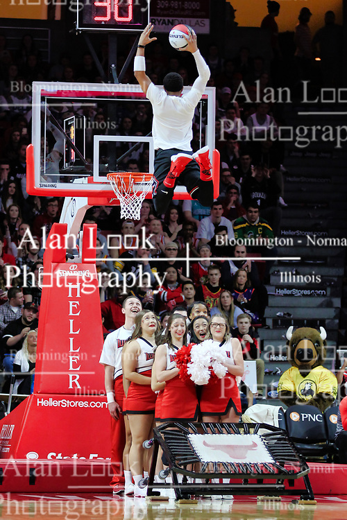 NORMAL, IL - February 02:  Benny the Bull and crew provide entertainment at half during a college basketball game between the ISU Redbirds and the University of Loyola Chicago Ramblers on February 02 2019 at Redbird Arena in Normal, IL. (Photo by Alan Look)