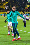 Tottenham Hotspur forward Harry Kane (10) and Tottenham Hotspur forward Heung-Min Son (7) warm up ahead of the Champions League round of 16, leg 2 of 2 match between Borussia Dortmund and Tottenham Hotspur at Signal Iduna Park, Dortmund, Germany on 5 March 2019.