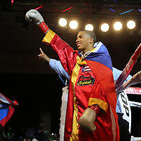 Felix Verdejo waves to his supporters as he prepares for a fight at the Bahia Shriners Center on Saturday, April 19, 2014 in Orlando, Florida.  (AP Photo/Alex Menendez)