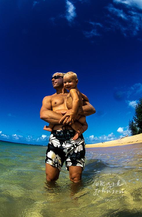Hawaii, Kauai, Father & 13 m.o. baby girl at beach.  MR available