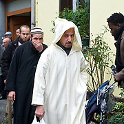 In front of a mosque in Brussels' Molenbeek neighbourhood, a hotbed of Islamic fundamentalism.