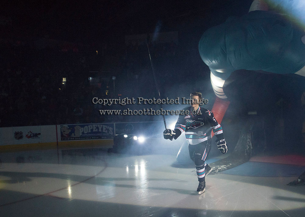 KELOWNA, CANADA - SEPTEMBER 25: Danny Gatenby #5 of Kelowna Rockets enters the ice during the season home opener against the Kamloops Blazers on September 25, 2015 at Prospera Place in Kelowna, British Columbia, Canada.  (Photo by Marissa Baecker/Shoot the Breeze)  *** Local Caption *** Danny Gatenby;