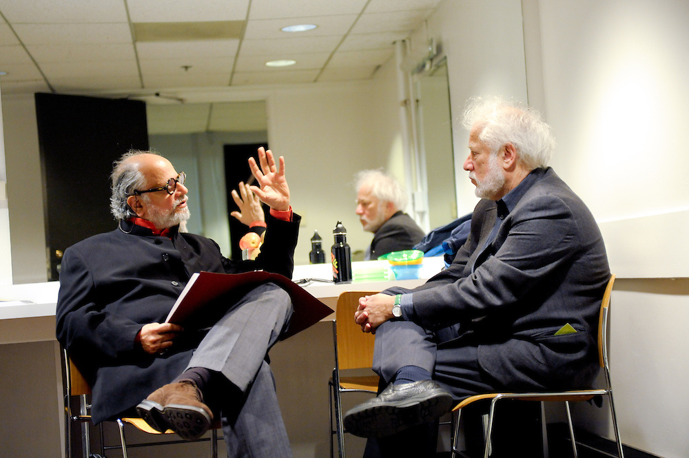 Homi Bhabha, Director of the Humanities Center at Harvard, and author Michael Ondaatje prepare for the Boston Book Festival keynote on Ondaatje's new book The Cat's Table.